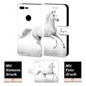 Google Pixel XL Handy Hülle Tasche Etui mit Pferd + Bild + Text + Logo Druck