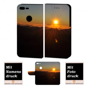 Google Pixel XL Schutzhülle Handy Tasche mit Sonnenaufgang + Foto +Text + Druck