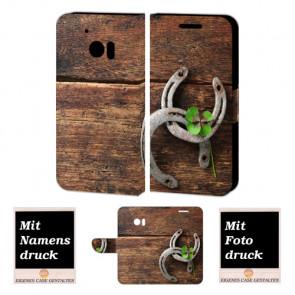 HTC 10 Personalisierte Handy Hülle mit Holz - Hufeisen Fotodruck