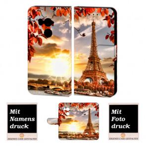 HTC U11 Plus Schutzhülle Handy Hülle Tasche mit Eiffelturm + Foto + Text + Druck