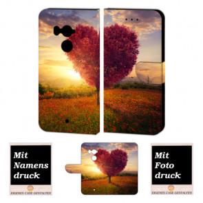 HTC U11 Plus Schutzhülle Tasche Etui mit Herzbaum + Foto + Text + Logo Druck