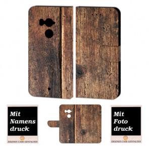 HTC U11 Plus Schutzhülle Handy Tasche Hülle mit Holz + Foto Druck