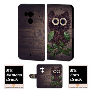 Handy Hülle Tasche für HTC U11 Plus mit Kaffee Eule Bild Druck