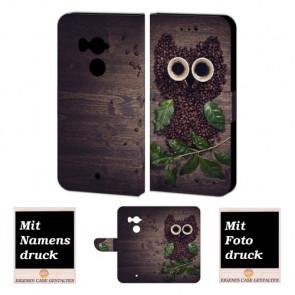 HTC U11 Plus Handy Hülle Tasche Etui mit Kaffee Eule + Foto + Text + Bild Druck