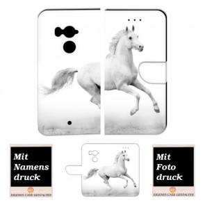 HTC U11 Plus Personalisierte Handy Hülle Tasche mit Pferd + Foto Text Druck Etui