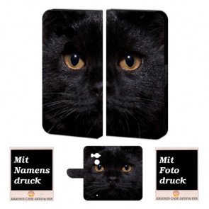 HTC U11 Plus Schutzhülle Handy Tasche mit Schwarz Katze + Foto + Text Druck