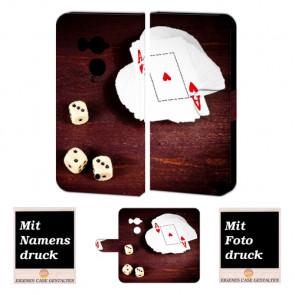 HTC U11 Plus Handy Hülle Tasche mit Spielkarten - Würfel + Foto + Text Druck
