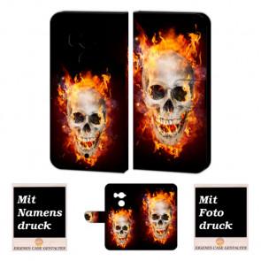 HTC U11 Plus Handy Hülle Tasche Etui mit Totenschädel - Feuer + Bild Text Druck