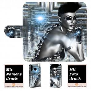 Handyhülle Tasche für Samsung Galaxy M20 mit Robot + Fotodruck