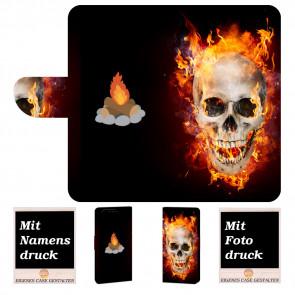 Huawei P10 Plus Handy Hülle mit Totenschädel - Feuer + Foto Druck
