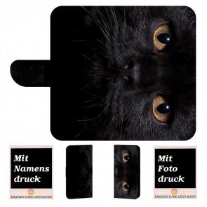 Huawei Mate 20 Schutzhülle Handy Tasche mit Schwarz Katze Fotodruck
