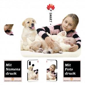 Huawei P Smart Plus Handy Tasche Hülle mit Foto Bild Text Druck Etui