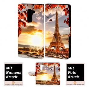 Huawei Honor 6X Handy Hülle Tasche mit Eiffelturm + Foto + Text Druck