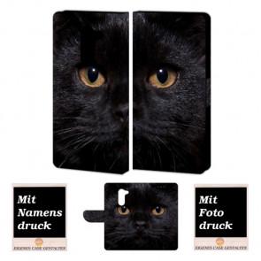 Huawei GR5 2017 Handy Hülle Tasche mit Schwarz Katze + Foto + Text Druck