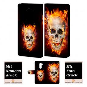 Huawei Honor 6X Handy Hülle Tasche mit Totenschädel - Feuer Fotodruck