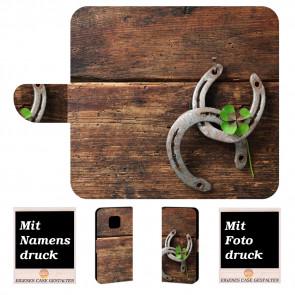 Huawei Mate 20 Pro Personalisierte Handy Tasche mit Holz - Hufeisen + Foto Druck