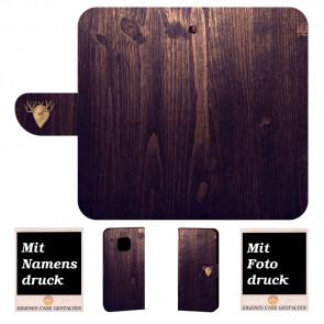 Huawei Mate 20 Pro Personalisierte Handy Tasche Etui mit Holz Optik + Foto Druck
