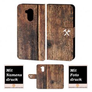 Huawei Nova Smart Schutzhülle Handy Tasche Hülle mit Holz + Foto Text Druck Etui