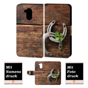 Huawei Nova Smart Schutzhülle Handy Hülle Etui mit Holz - Hufeisen + Foto Druck