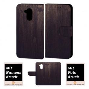 Huawei Nova Smart Handy Hülle Tasche mit Holz Optik + Bild + Text Druck Etui