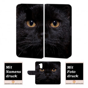 Huawei Nova Smart Schutzhülle Handy Tasche Hülle mit Schwarz Katze + Foto Druck