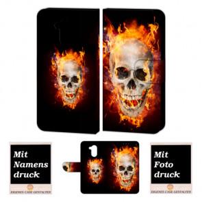 Huawei Nova Smart Handy Hülle Tasche mit Totenschädel - Feuer + Foto Druck Etui