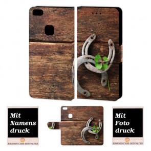 Huawei P10 Lite Personalisierte Handy Hülle mit Holz - Hufeisen + Foto