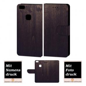 Huawei P10 Lite Handy Tasche hülle mit Holz Optik Fotodruck