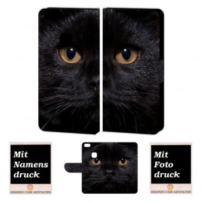 Huawei P10 Lite Schutzhülle Handyhülle mit Fotodruck Schwarz Katze