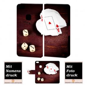 Handy Hülle Tasche für Huawei P10 Lite mit Spielkarten - Würfel + Foto Druck