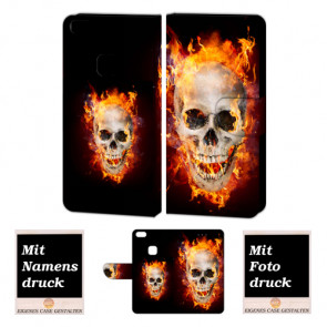 Handyhülle mit Totenschädel - Feuer Bilddruck für Huawei P10 Lite