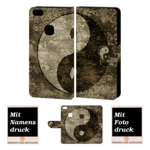 Huawei P10 Lite Schutzhülle Handy Tasche mit Yin Yang Fotodruck