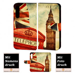 Huawei P20 Plus Handy Hülle Tasche mit Big Ben-London + Foto Text Druck
