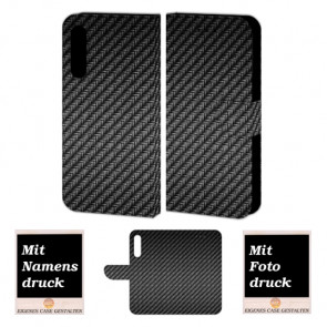 Schutzhülle Handy Tasche mit Carbon Fotodruck für Huawei P20 Plus
