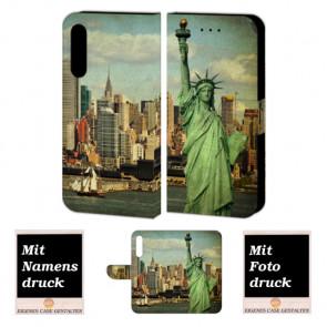 Handy Hülle Tasche für Huawei P20 Pro mit Freiheitsstatue + Foto + Text Druck