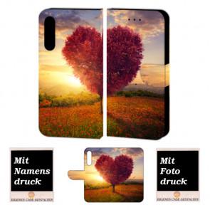 Huawei P20 Pro Handy Schutzhülle Tasche mit Herzbaum + Foto + Text Logo Druck