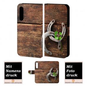 Huawei P20 Personalisierte Handy Tasche mit Holz - Hufeisen + Foto Druck