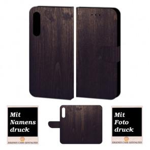 Huawei P20 Handy Schutzhülle Tasche mit Holz Optik Foto Druck