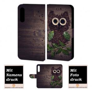 Schutz Hülle für Huawei P30 Handy mit Kaffee Eule + Foto Druck Text