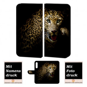 Schutzhülle Tasche für Huawei P30 Handy mit Leopard + Bilddruck