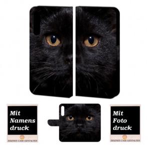 Schutzhülle Handy mit Schwarz Katze Fotodruck für Huawei P20 Plus
