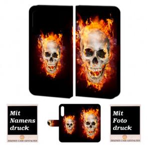 Handyhülle Tasche für Huawei P30 mit Totenschädel - Feuer + Bilddruck