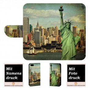 iPhone 6, 6s Handy Tasche Hülle mit Freiheitsstatue + Fotodruck Text