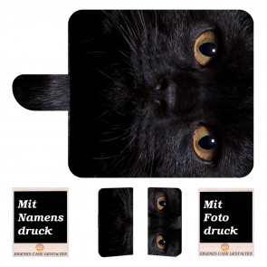 iPhone 6, 6s Handy Tasche Hülle mit Schwarz Katze + Fotodruck
