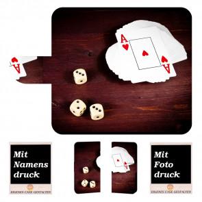 Handyhülle mit Spielkarten -Würfel + Fotodruck Text für iPhone 6 +/ 6s Plus