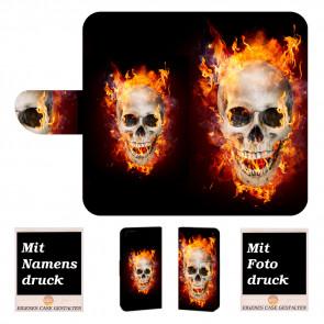 iPhone SE (2020) Handy Hülle mit Fotodruck Totenschädel Feuer