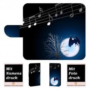 Handy Tasche Hülle für iPhone 7 mit Fledermaus- Mond + Bilddruck Etui