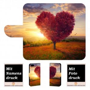 iPhone 7 Individuelle Handyhülle Tasche mit Herzbaum + Bilddruck Text