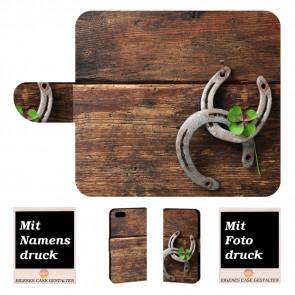 iPhone 7 Personalisierte Handyhülle mit Holz - Hufeisen + Text Bilddruck