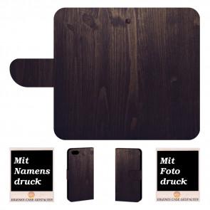 iPhone SE (2020) Handy Hülle mit Fotodruck HolzOptik Dunkelbraun